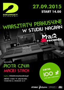 drumset academy WARSZTATY W STUDIU NAGRAŃ 2015